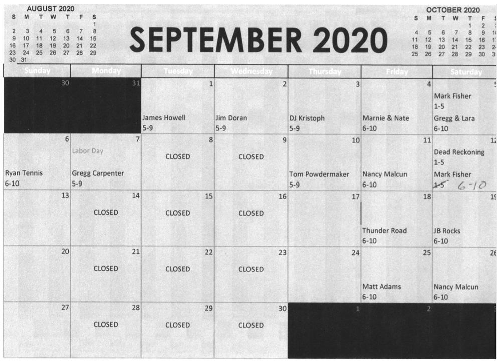 September 2020 Entertainment